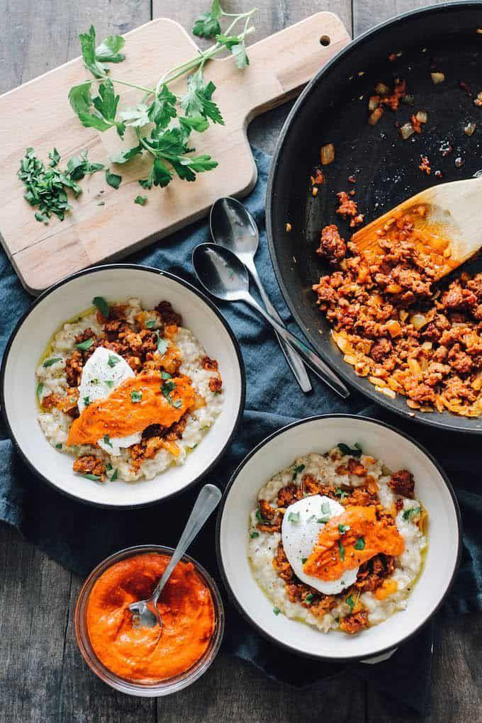 """<p>Ever had savory oatmeal before? This low-calorie breakfast features plenty of those all-important whole grains in the form of oatmeal, plus a plant-powered sauce you'll want to put on everything.</p><p><a href=""""https://www.destinationdelish.com/savory-spanish-oatmeal/"""" rel=""""nofollow noopener"""" target=""""_blank"""" data-ylk=""""slk:Get the recipe from Destination Delish »"""" class=""""link rapid-noclick-resp""""><strong><em>Get the recipe from Destination Delish »</em></strong></a></p>"""