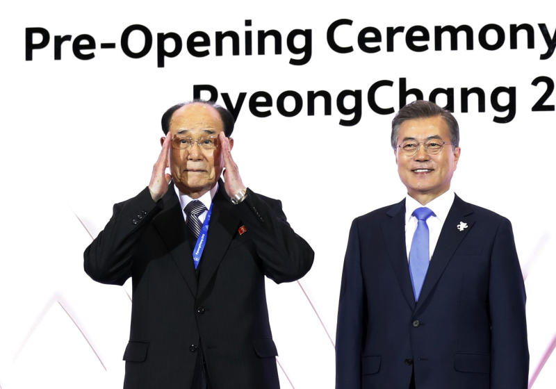FILE - In this Feb. 9, 2018 file photo, South Korean President Moon Jae-in, right, and Kim Yong Nam, president of the Presidium of the Supreme People's Assembly of North Korea, pose for photographs during the Olympic opening ceremony reception in Pyeongchang, South Korea. South Korea's liberal president faces growing skepticism at home about his engagement policy ahead of his third summit with North Korean leader Kim Jong Un. A survey showed nearly half of South Koreans think next week's summit won't find a breakthrough to resolve a troubled nuclear diplomacy. It comes as Moon's approval rating is declining amid economic frustrations. (Kim Hong-ji/Pool Photo via AP, File)