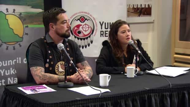 Peter Johnston, grand chief of the Council of Yukon First Nations and Kluane Adamek, Yukon regional chief of the Assembly of First Nations, seen here in 2019. They say the leader of the Yukon Party must do more to punish MLAs who engaged in an 'abhorrent' text exchange over the weekend. (Steve Silva/CBC - image credit)