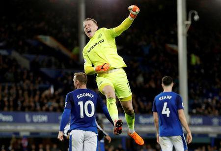 Soccer Football - Premier League - Everton v Newcastle United - Goodison Park, Liverpool, Britain - April 23, 2018 Everton's Jordan Pickford celebrates after the match Action Images via Reuters/Lee Smith
