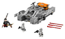 <p>Another vehicle featured prominently in the trailers is this hovertank, which serves as an Imperial urban-assault vehicle. The Lego version comes with a pair of pilots ready to match up against the blind, Force-sensitive martial artist Chirrut Îmwe and his cool crossbow-shaped blaster. ($29.99)</p>