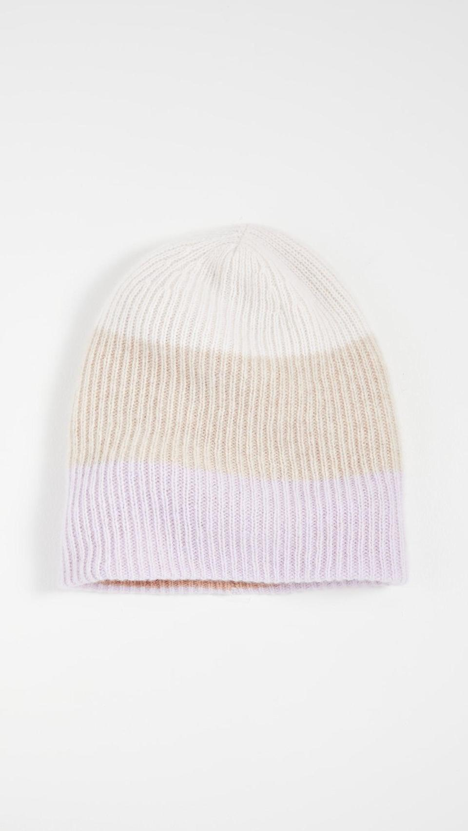 <p>This <span>White + Warren Colorblocked Plush Rib Cashmere Beanie</span> ($160) is so beautiful.</p>