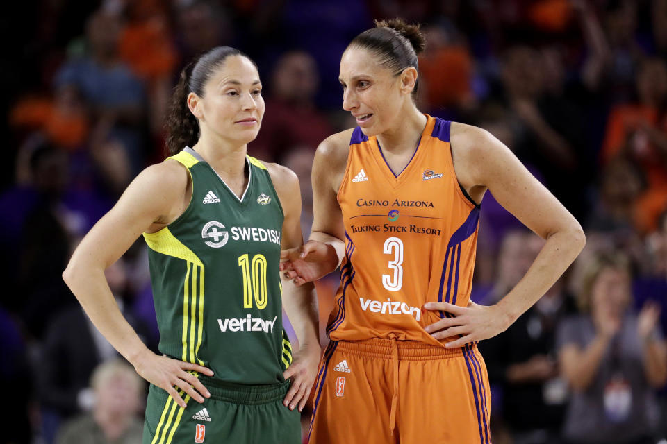 FILE - In this Sept. 6, 2017 file photo, Phoenix Mercury guard Diana Taurasi (3) talks with Seattle Storm guard Sue Bird (10) during the second half of a WNBA basketball playoff game in Tempe, Ariz. Taurasi and Bird know that they are on the tail end of their incredible basketball careers. After both stars missed last season due to injuries, skipping the 2020 season could have meant the end of their illustrious careers because it would have been difficult to return after two years off according to them. (AP Photo/Matt York, File)