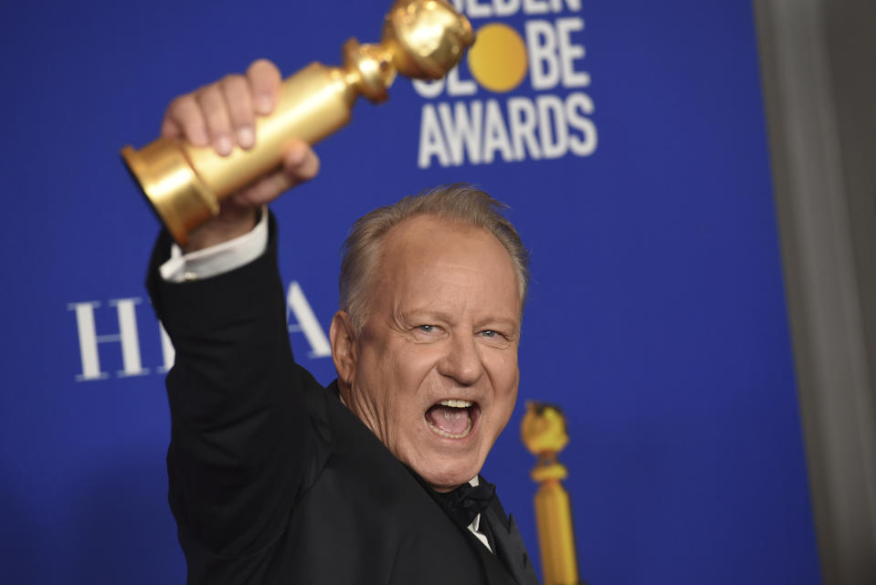 "Stellan Skarsgard poses in the press room with the award for best performance by an actor in a supporting role in a series, limited series or motion picture made for television for ""Chernobyl"" at the 77th annual Golden Globe Awards at the Beverly Hilton Hotel on Sunday, Jan. 5, 2020, in Beverly Hills, Calif. (AP Photo/Chris Pizzello)"