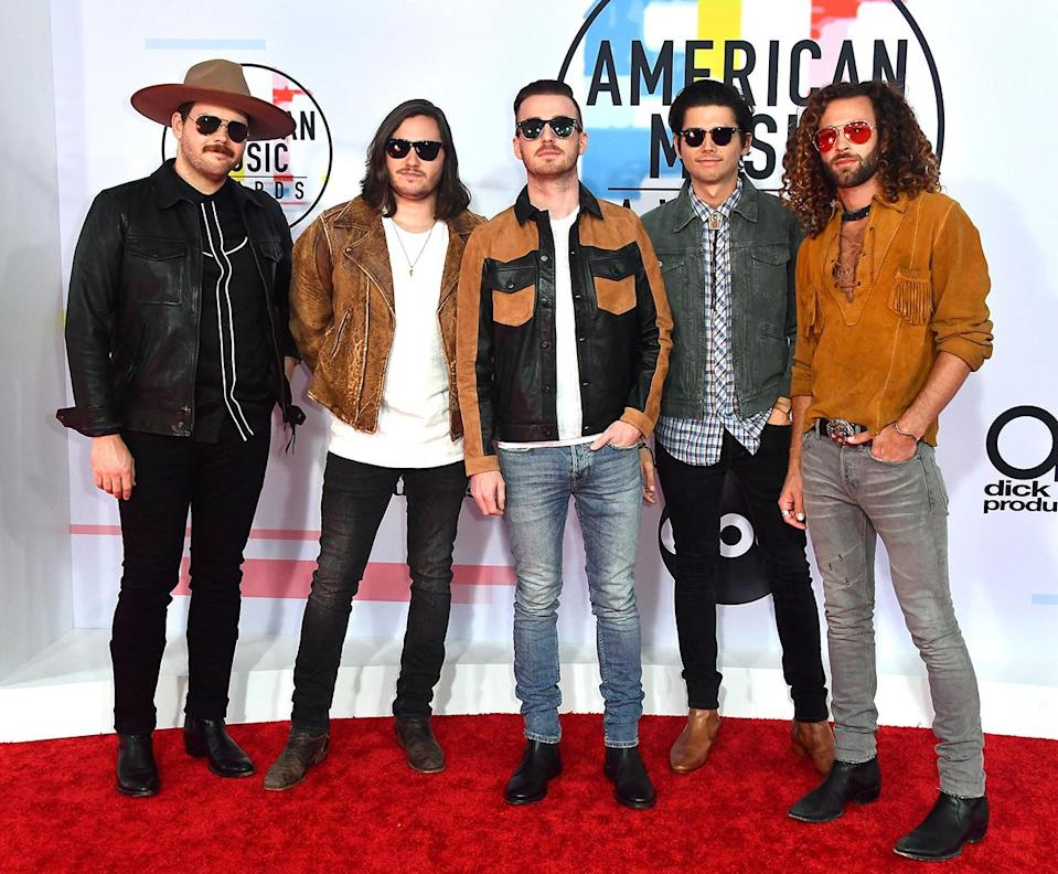 <p>Jared Hampton, Tripp Howell, Brandon Lancaster, Chandler Baldwin, and Eric Steedly of LANCO attend the 2018 American Music Awards at Microsoft Theater on Oct. 9, 2018, in Los Angeles. (Photo: Frazer Harrison/Getty Images) </p>