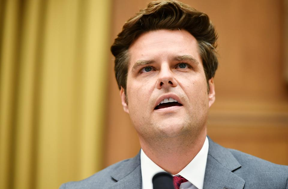 Rep. Matt Gaetz, (R-FL), speaks during a hearing of the House Judiciary Subcommittee on Antitrust, Commercial and Administrative Law on