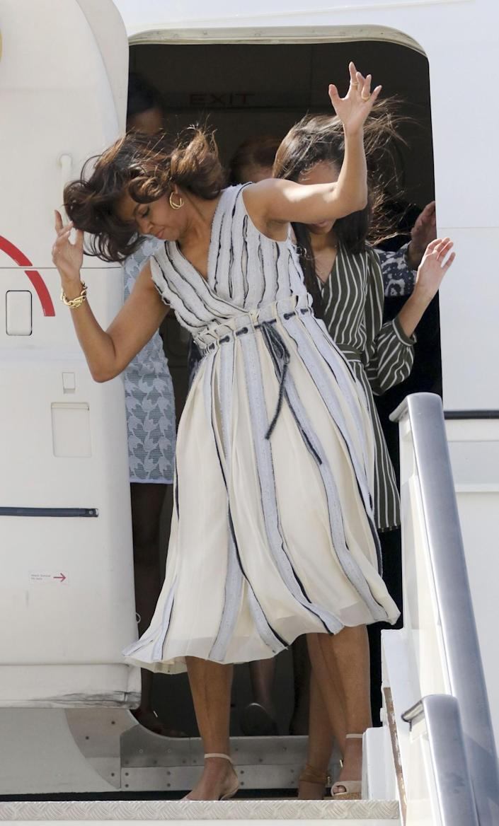 <p>First lady Michelle Obama appears windblown at Torrejon Air Force Base on June 29, 2016 in Madrid, Spain. (Europa Press/Europa Press via Getty Images) </p>