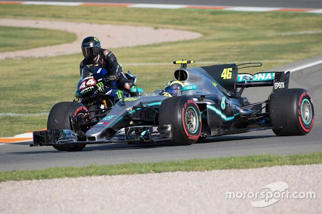 "Lewis Hamilton, Yamaha MotoGP YZR-M1, Valentino Rossi, Mercedes-AMG F1 W08 <span class=""copyright"">Monster Energy</span>"