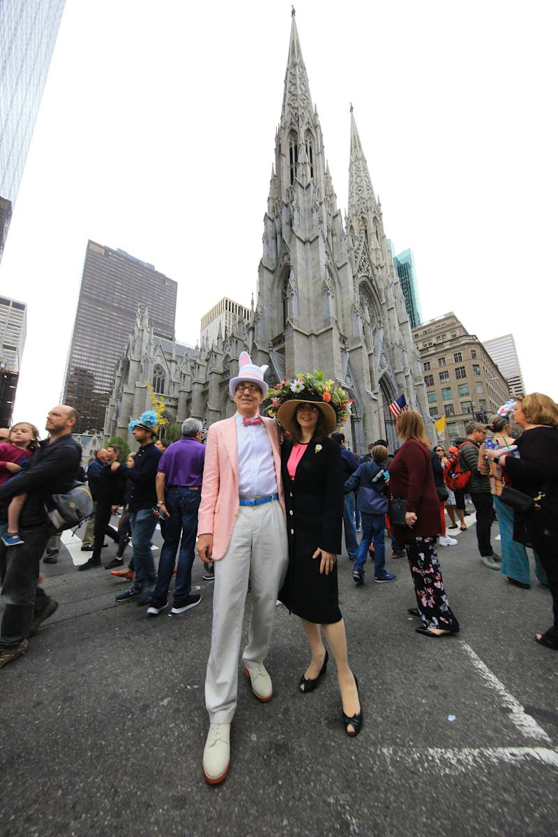 Kevin and Susan of New York City participate in the Easter Parade and Bonnet Festival, Sunday, April 21, 2019, in New York. (Photo: Gordon Donovan/Yahoo News)