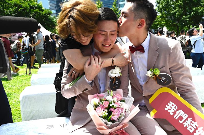 Shane Lin and Marc Yuan were the first to register for marriage in Taipei (AFP Photo/Sam YEH)