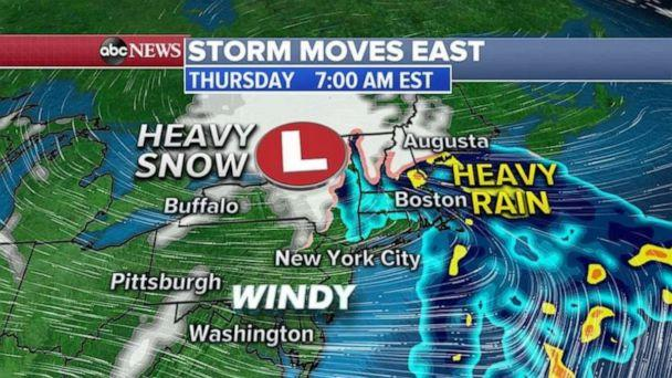 PHOTO: For the Northeast today, rain will move into the I-95 corridor from Washington D..C. to New York City and Boston with snow in western New York and into New England. (ABC News)