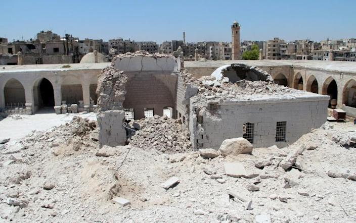 The Ottoman era Murad Pasha caravanserai, which dates back to 1565 and has served as a museum in Maaret al-Numan, was seriously destroyed in June 2015 (AFP Photo/GHAITH OMRAN)