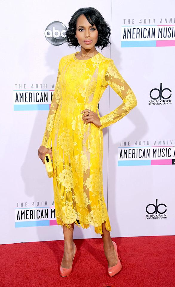 LOS ANGELES, CA - NOVEMBER 18:  Actress Kerry Washington arrives at the 40th Anniversary American Music Awards at Nokia Theatre L.A. Live on November 18, 2012 in Los Angeles, California.  (Photo by Gregg DeGuire/WireImage)