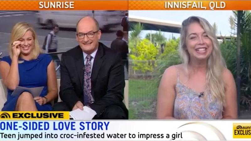 Sunrise hosts Sam Armytage and David Koch were left in stitches after speaking to the British backpacker. Source: Sunrise