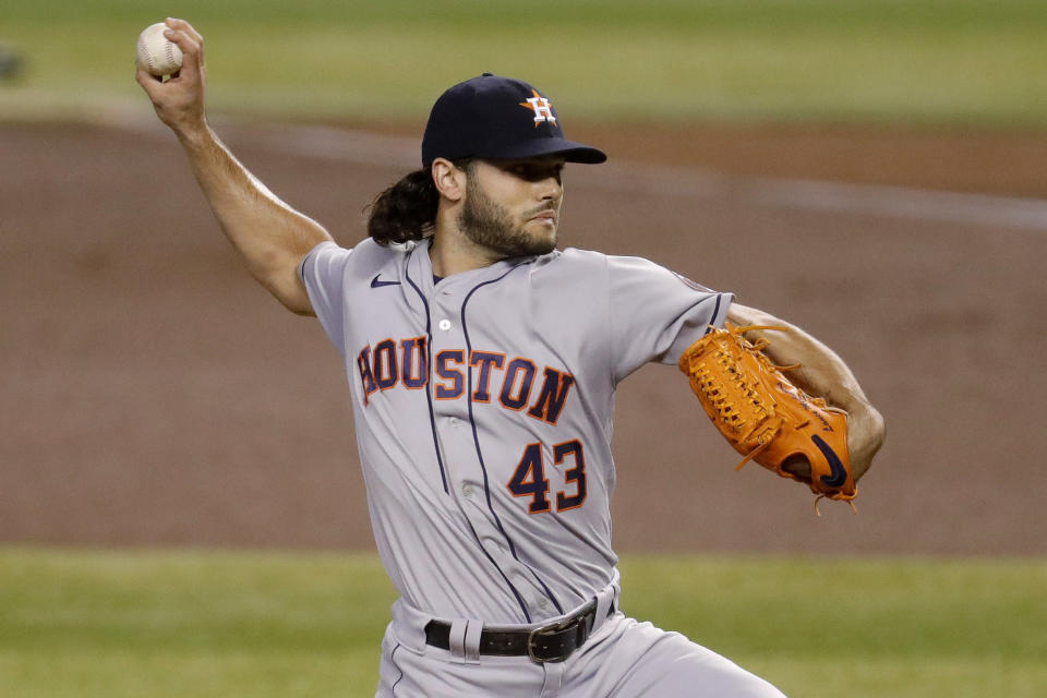 Houston Astros starting pitcher Lance McCullers Jr. (43) throws against the Arizona Diamondbacks during the first inning of a baseball game Wednesday, Aug. 5, 2020, in Phoenix. (AP Photo/Matt York)