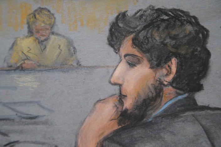 A courtroom sketch shows Boston Marathon bombing suspect Dzhokhar Tsarnaev (R) during the jury selection process in his trial at the federal courthouse in Boston, Mass., on Jan.15, 2015. Tsarnaev, who appeared in court on Thursday wearing a sports jacket and collared shirt, more formally dressed than in last week's appearances, and with trimmed hair, is also charged with fatally shooting a university police officer three days after the bombing. He has pleaded not guilty. REUTERS/Jane Flavell Collins (UNITED STATES - Tags: CRIME LAW)