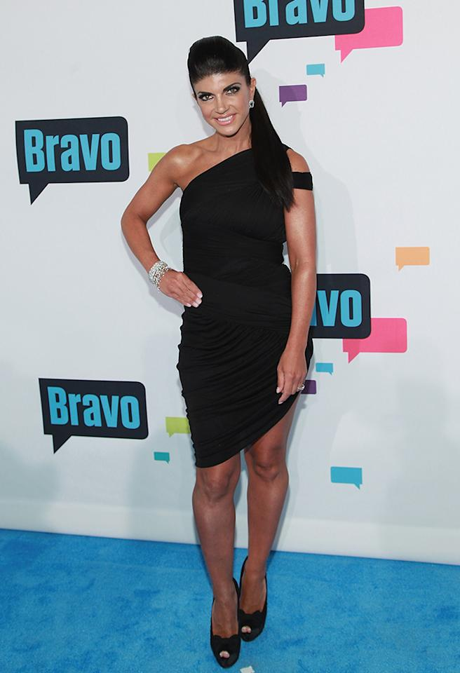 "NEW YORK, NY - APRIL 03:  TV personality Teresa Giudice of ""The Real Housewives of New Jersey"" attends the 2013 Bravo Upfront at Pillars 37 Studios on April 3, 2013 in New York City.  (Photo by Taylor Hill/FilmMagic)"