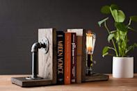 <p>How stunning are these <span>Industrial Steampunk Bookend Table Pipe Lamp with Classic Edison bulb</span> ($69). It will add that ecclectic flair you've been missing.</p>