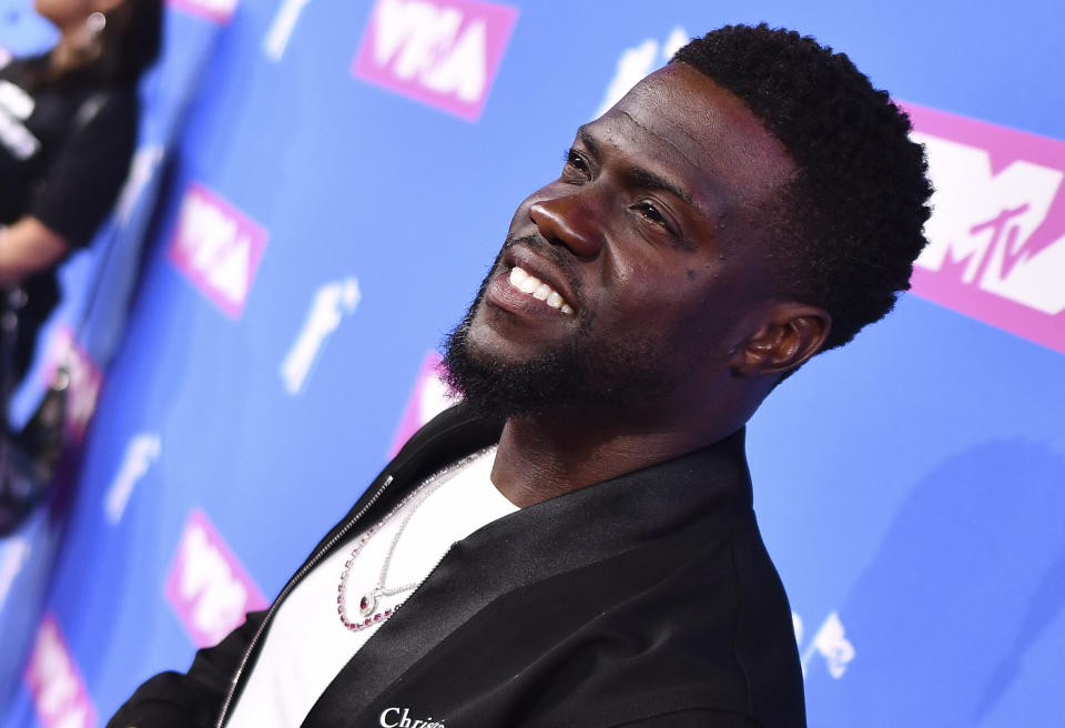 Kevin Hart arrives at the MTV Video Music Awards at Radio City Music Hall on Monday, Aug. 20, 2018, in New York. (Photo by Charles Sykes/Invision/AP)