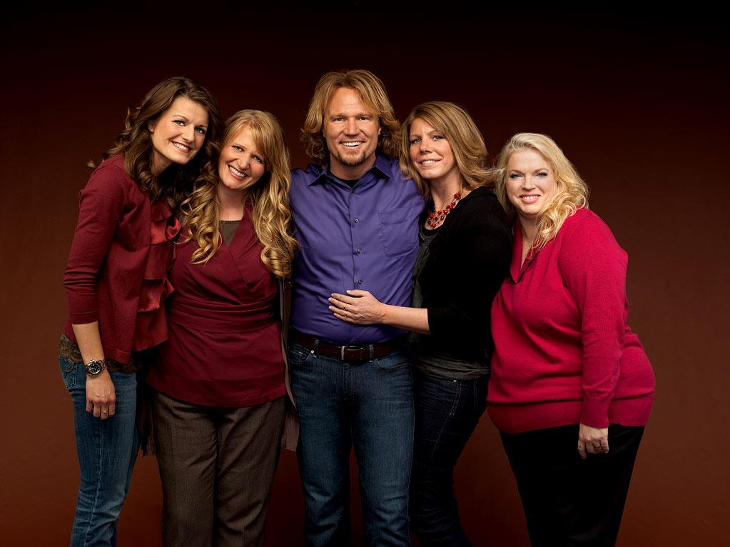 "Kody (center) with sister wives (L to R) Robyn, Christine, Meri and Janelle in ""Sister Wives."""