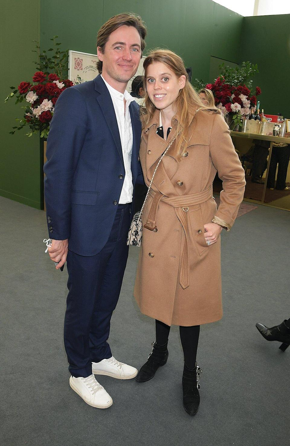 Edoardo Mapelli Mozzi and Princess Beatrice of York attend Ned's Club Lounge at Frieze London Art Fair at Regent's Park on October 13, 2021