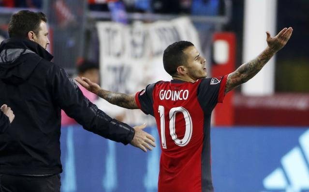 Toronto FC's Sebastian Giovinco (10) reacts after being given a red card during the second half of an MLS soccer game against the New England Revolution in Foxborough, Mass., Saturday, May 12, 2018. (AP Photo/Michael Dwyer)