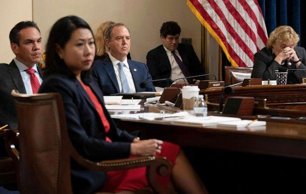PHOTO: From left, Rep. Pete Aguilar, Rep. Stephanie Murphy, Rep. Adam Schiff, and Rep. Zoe Lofgren, listen during the Select Committee investigation of the Jan. 6, 2021, attack on the U.S. Capitol, July 27, 2021, in Washington, D.C.  (Brendan Smialowski/Pool via AFP/Getty Images)