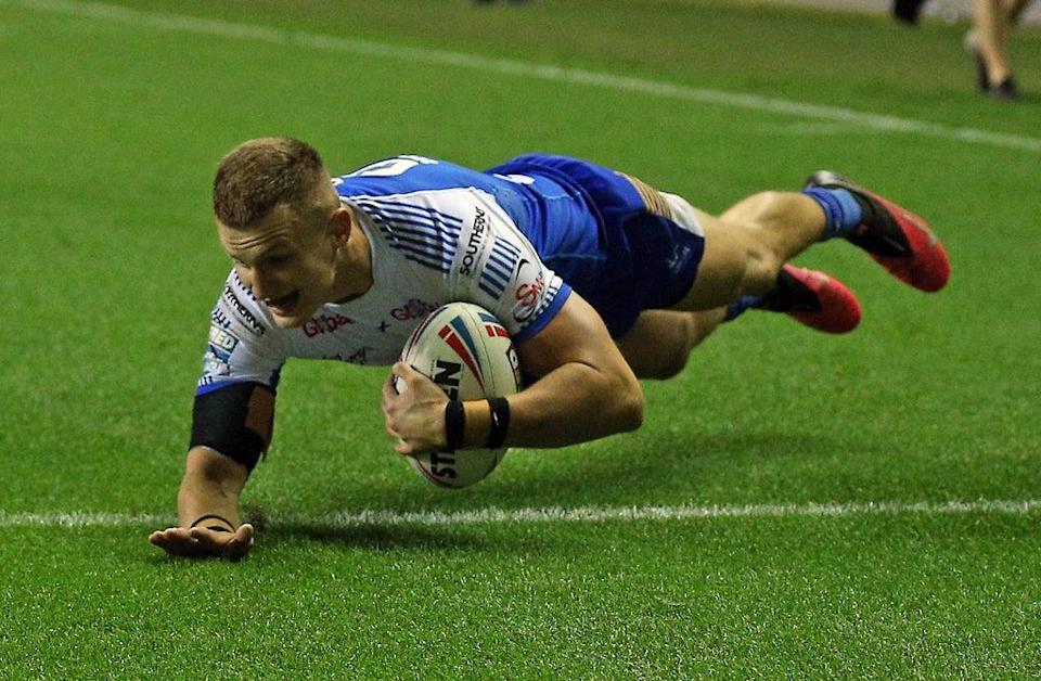Ash Handley touches down for Leeds (Nigel French/PA) (PA Wire)