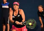 Belinda Bencic during her US Open match against Misaki Doi at the USTA Billie Jean King National Tennis Center on September 2, 2015 in New York (AFP Photo/Timothy A. Clary)