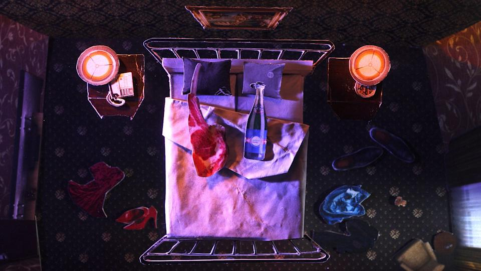 Enslaved in a surreal world of living objects, a lamb cutlet does whatever it takes to make ends meet. (Photo: Finding Pictures)