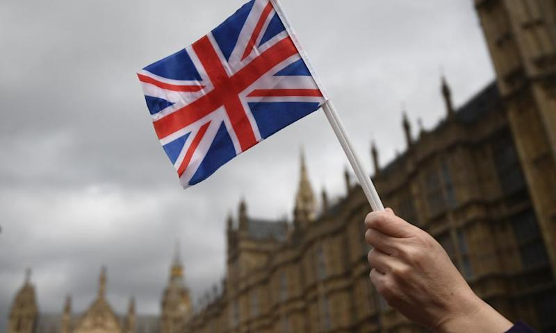 A Brexit supporter's Union Jack at a pro-EU demonstration outside parliament last week