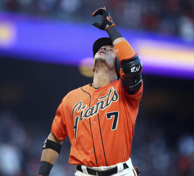 San Francisco Giants' Gorkys Hernandez celebrates after hitting a home run off Colorado Rockies pitcher Kyle Freeland in the first inning of a baseball game Friday, May 18, 2018, in San Francisco. (AP Photo/Ben Margot)