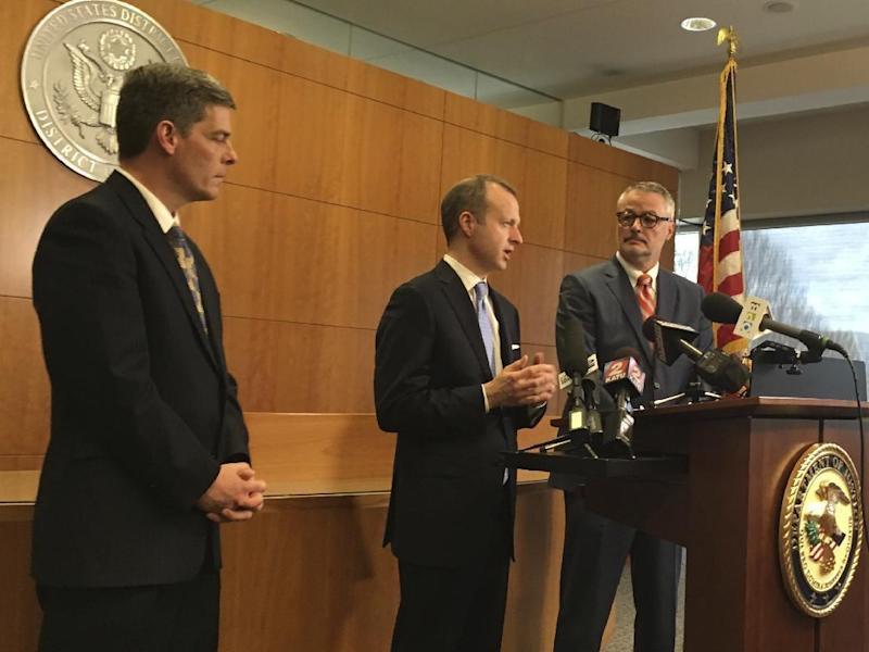 From left to right, Federal prosecutors Geoffrey Barrow, Ethan Knight, and U.S. Attorney for Oregon Billy Williams speak at a news conference in Portland, Ore., on Friday, March 10, 2017, following the conviction of two men of conspiracy to impede federal officers during last year's high-profile armed occupation of an Oregon wildlife refuge. Two other defendants were acquitted of the conspiracy charge but found guilty of deprivation of government property at Malheur National Wildlife Refuge. (AP Photo/Steven Dubois)