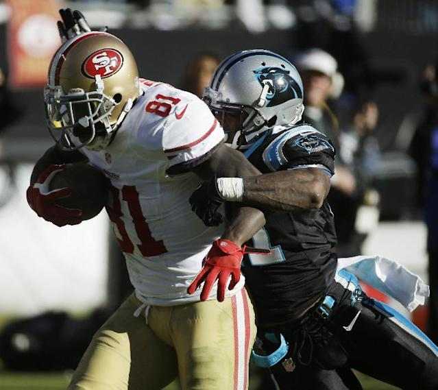 San Francisco 49ers wide receiver Anquan Boldin (81) runs against Carolina Panthers cornerback Captain Munnerlyn (41) during the second half of a divisional playoff NFL football game, Sunday, Jan. 12, 2014, in Charlotte, N.C. (AP Photo/John Bazemore)