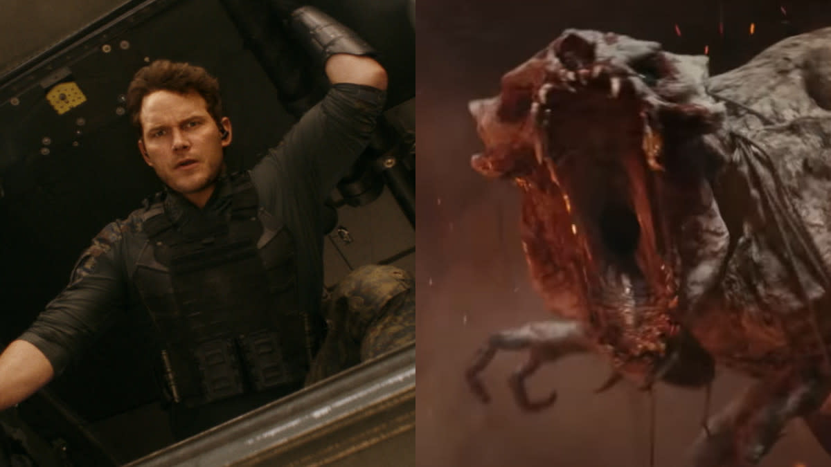 Chris Pratt travels forward in time to join the human fightback against terrifying alien creatures in 'The Tomorrow War'. (Amazon Prime Video)