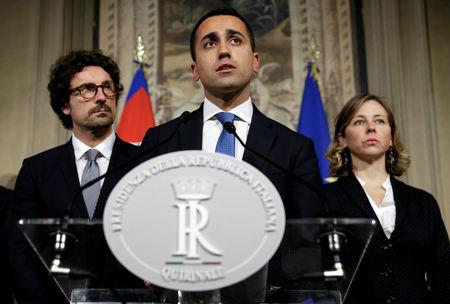 FILE PHOTO: Anti-establishment 5-Star Movement leader Luigi Di Maio speaks following a talk with Italian President Sergio Mattarella at the Quirinal Palace in Rome, Italy, April 12, 2018.  REUTERS/Max Rossi/File Photo