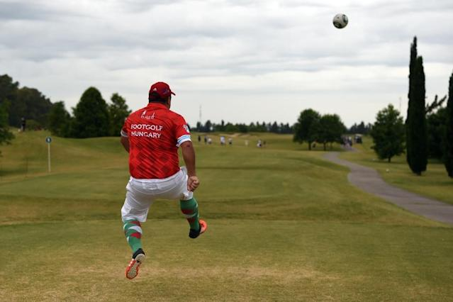 A participant from Hungary kicks the ball during the second edition of the Footgolf World Cup on January 10, 2016 (AFP Photo/Eitan Abramovich)