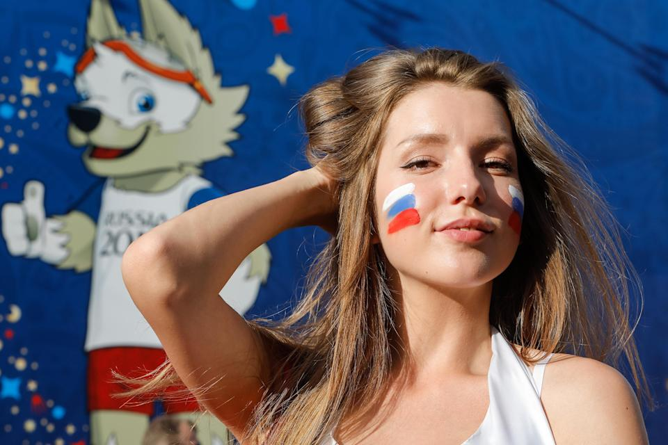 <p>Russia supporter during the FIFA World Cup 2018 match between Russia and Saudi Arabia on June 14, 2018 at Fan Fest zone in Saint Petersburg, Russia. (Photo by Mike Kireev/NurPhoto via Getty Images) </p>