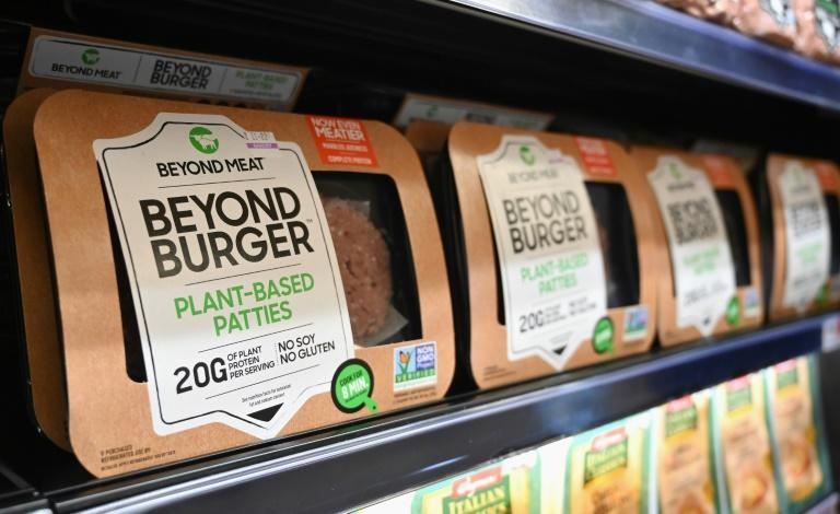 Prices of conventional protein have surged in recent weeks -- giving plant-based products a chance to gobble up more market share (AFP Photo/Angela Weiss)