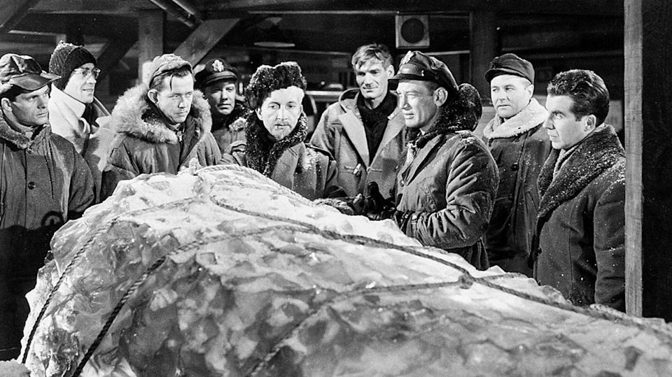 """<p><strong><em>The Thing from Another World</em></strong></p><p>A crew of scientists uncover a dangerous extraterrestrial creature buried deep the Arctic ice. </p><p><a class=""""link rapid-noclick-resp"""" href=""""https://www.amazon.com/Thing-Another-World-James-Arness/dp/B006PJI8ZY/?tag=syn-yahoo-20&ascsubtag=%5Bartid%7C10055.g.29120903%5Bsrc%7Cyahoo-us"""" rel=""""nofollow noopener"""" target=""""_blank"""" data-ylk=""""slk:WATCH NOW"""">WATCH NOW</a></p>"""