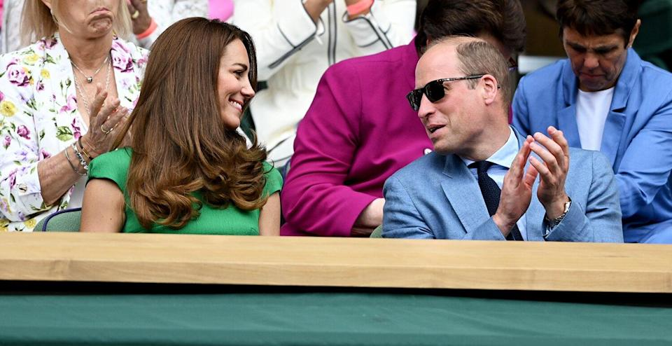 Prince William, Duke of Cambridge and Catherine, Duchess of Cambridge attend Wimbledon Championships Tennis Tournament at All England Lawn Tennis and Croquet Club on July 10, 2021 in London, England.
