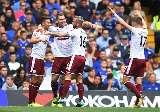 Burnley celebrate going 1-0 up at Chelsea