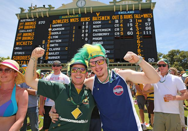 ADELAIDE, AUSTRALIA - DECEMBER 07: Australian fans show their support during day three of the Second Ashes Test match between Australia and England at Adelaide Oval on December 7, 2013 in Adelaide, Australia. (Photo by Scott Barbour/Getty Images)