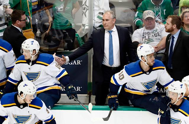 Craig Berube is the frontrunner to take home the NHL's Coach of the Year award. (AP Photo/Tony Gutierrez)