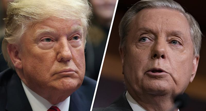 President Trump and Sen. Lindsey Graham. (Photos: Leah Millis/Reuters, Alex Edelman/Bloomberg via Getty Images)
