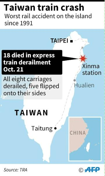 Map locating Taiwan's the train crash in Taiwan on Sunday that left 18 people dead