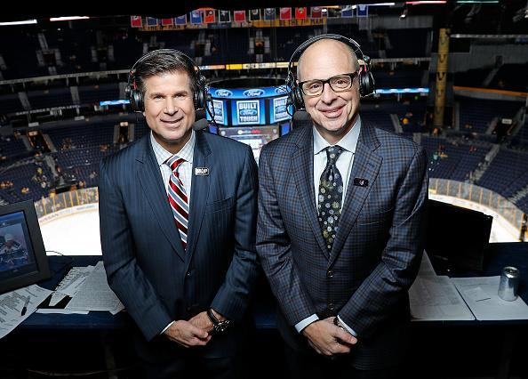 """NASHVILLE, TN – DECEMBER 22: <a class=""""link rapid-noclick-resp"""" href=""""/nhl/teams/los/"""" data-ylk=""""slk:Los Angeles Kings"""">Los Angeles Kings</a> announcers Jim Fox and Ralph Strangis prior to an NHL game against the <a class=""""link rapid-noclick-resp"""" href=""""/nhl/teams/nas/"""" data-ylk=""""slk:Nashville Predators"""">Nashville Predators</a> at Bridgestone Arena on December 22, 2016 in Nashville, Tennessee. (Photo by John Russell/NHLI via Getty Images)"""