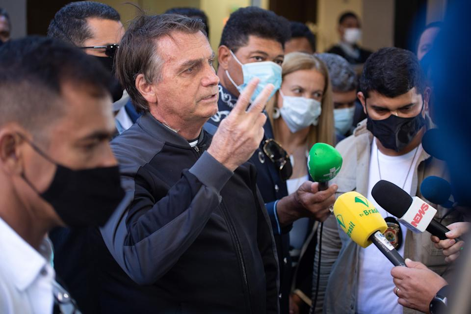 President Jair Bolsonaro left the hospital this Sunday on  July 18, 2021 , after undergoing treatment for an intestinal obstruction, the president was hospitalized at Hospital Nova Star in the south of São Paulo since last Wednesday, where he was transferred after experiencing severe pain in your abdomen. (Photo by Amauri Nehn/NurPhoto via Getty Images)