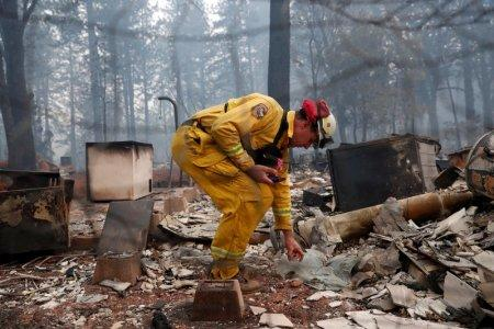 Cal Fire firefighter Stewart Morrow inspects a house destroyed by the Camp Fire in Paradise, California, U.S., November 14, 2018. REUTERS/Terray Sylvester