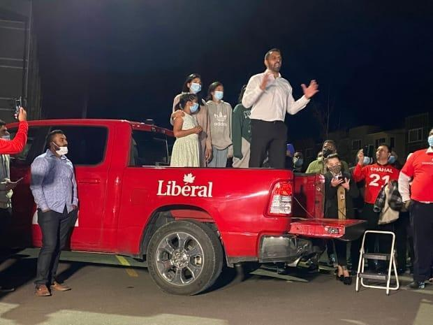 Liberal George Chahal gives a victory speech to a crowd of supporters in his riding of Calgary Skyview shortly before midnight on election night, Sept. 20, 2021. (Elise Von Scheel/CBC - image credit)